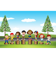 Children standing on logs in the park vector image vector image