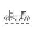 city in flat style building tree and shrub on vector image vector image