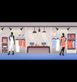 clothes shop interior dress and accessory vector image