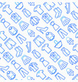 clothing seamless pattern with thin line icons vector image vector image