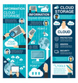 cloud storage flat banner for network technology vector image vector image