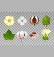 cotton realistic transparent icon set vector image vector image