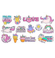 cute slogan patches time to be unicorn shine vector image vector image