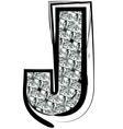 Diamond Font letter J vector image vector image