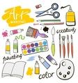 doodle colored art materials collection