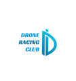drone racing club letter d icon vector image vector image