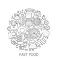 fast food in circle - concept line vector image vector image