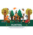 flat hunting template vector image vector image