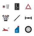 flat icon auto set of pipeline petrol suspension vector image vector image