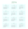 Flat style 2014 year calendar vector image vector image
