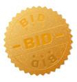 golden bid medal stamp vector image vector image