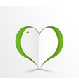 Green heart paper sticker vector image