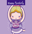 happy birthday with cute ballet dancer card vector image vector image