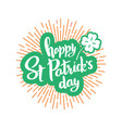 happy st patrick day banner with lettering vector image vector image