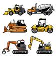 heavy machinery in set vector image vector image