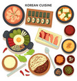 korean cuisine set dishes with veggies and vector image vector image