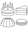line art black and white 4 dessert set vector image vector image