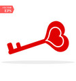 love red key icon heart shape isolated vector image vector image