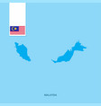 malaysia country map with flag over blue vector image