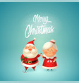 merry christmas - santa with flowers for his wife vector image vector image