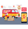 online tracking the movement of parcels vector image vector image