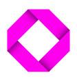 paper logo pink folded 3d sign vector image