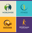 people fitness sport logos vector image vector image