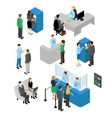 People In Bank Isometric Set vector image
