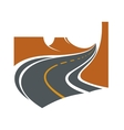 Road passes through canyon between brown cliffs vector image