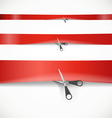 Scissors cutting the red advertising ribbon vector image vector image