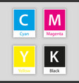 separate swatch in cmyk color with color name vector image vector image