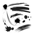 set black ink stains vector image vector image