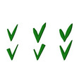 set green 3d checkmark ok sign checkmark vector image vector image