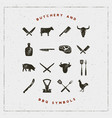 set of butchery and barbecue symbols vector image vector image