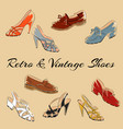 set of retro vintage female shoes sketch vector image