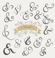 set vintage sign and ampersand on white vector image vector image