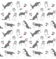 siberian husky seamless pattern background vector image