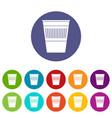 trash can with pedal icons set flat vector image vector image
