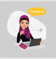 travel to world arab woman works on laptop vector image vector image