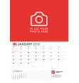 wall calendar planner for 2018 year january vector image vector image