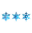 watercolor silhouettes of snowflakes vector image