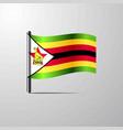 zimbabwe waving shiny flag design vector image vector image