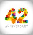 42 years anniversary circle colorful logo vector image vector image