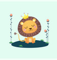a cute lion with flowers vector image