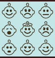 baby smileys set vector image