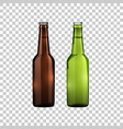 brown and green glass beer bottles isolated object vector image vector image