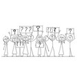 cartoon drawing of group of people protesting vector image vector image