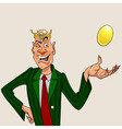 cartoon man wearing a crown with a golden egg vector image vector image