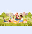 cartoon urban cityscape with characters playing vector image vector image