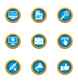 coding icons set flat style vector image vector image